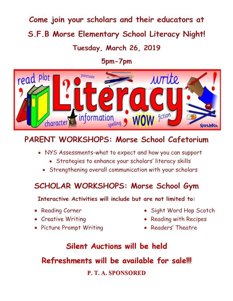 Come join your scholars and their educators at S.F.B Morse Elementary School Literacy Night!